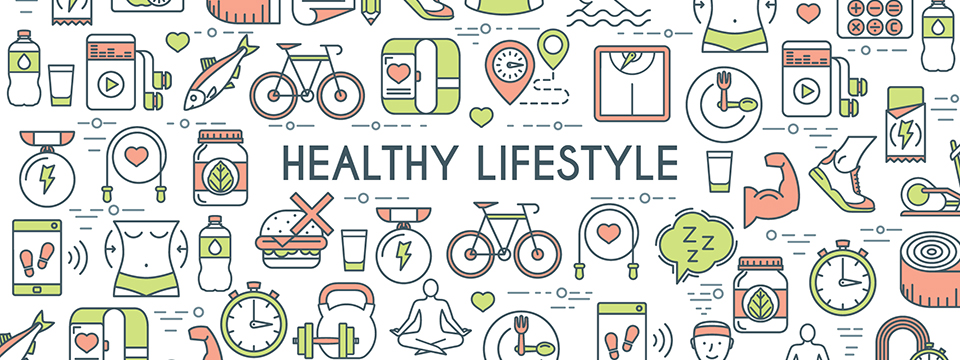 Illustration of a wide variety of healthy lifestyle choices.