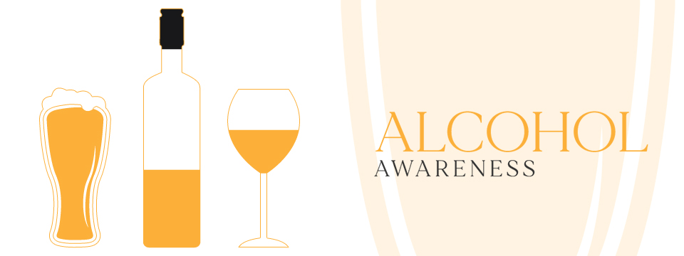 Illustration of several alcoholic beverages next to the words Alcohol Awareness.