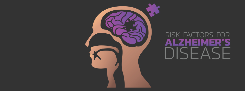 An illustration of the brain shows a puzzle shaped piece of the brain next to a list of risk factors for Alzheimer's Disease.
