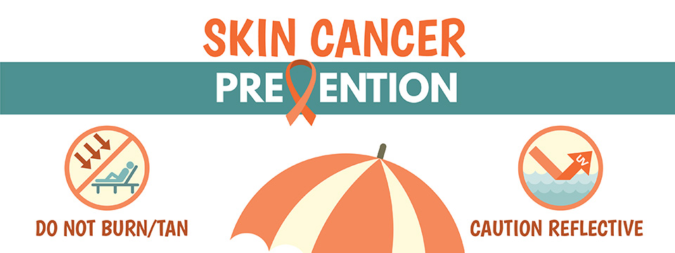 A colorful illustration outlines 6 ways you can enjoy outdoor life while preventing skin cancer. Do not burn or tan. Beware of reflective surfaces. Seek shade. Apply sunscreen. Get Vitamin D safely. Wear protective clothing.