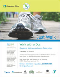 Launch Flier for Walk With A Doc on Saturdays at 8:30 AM at Cleveland Acacia Reservation