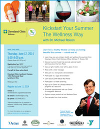 Launch Flier for Kickstart Your Summer The Wellness Way With Dr. Michael Roizen on Thursday, June 12th 2014