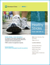 Healthy Strides ... Come Walk With Us - Saturdays at 8:30 AM - Cleveland Metroparks Acacia Reservation