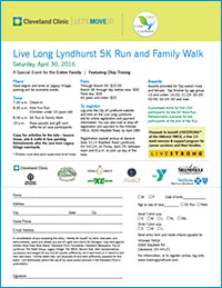 2016 Live Long Lyndhurst 5K Run and Family Walk - Featuring Cleveland Bouncers - April 30th 2016