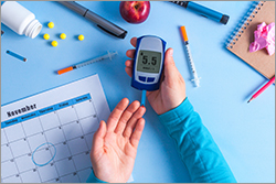 An insulin reader measure the level of glucose in the blood.